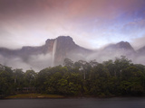 Venezuela  Guayana  Canaima National Park  Mist Swirls Round Angel Falls at Sunrise