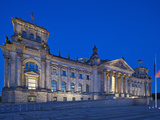 Twilight View of the Front Facade of the Reichstag Building in Tiergarten  Berlin  Germany