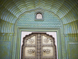 Green Gate in Pitam Niwas Chowk  City Palace  Jaipur  Rajasthan  India
