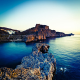 Lindos Acropolis and Harbour  Lindos  Rhodes  Greece