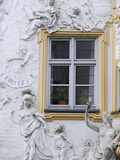 Germany  Bavaria  Munich  Ornate Stucco or Plasterwork Adorning the Front of a House in the City