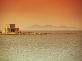 Sicily  Italy  Western Europe  a Villa at Sea with the Egadi Islands Visible in the Background in t