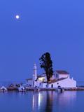 Night Scene of Vlacherna Monastery with Moon  Kanoni  Corfu  Greece