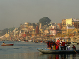 India  Uttar Pradesh  Varanasi (Aka Benares)  Small Boats  Popular Among Tourists at Dawn and Sunse