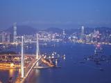Stonecutters Bridge  Victoria Harbour and Hong Kong Island at Dusk  Hong Kong  China
