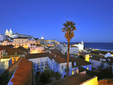Alfama at Dusk  Seen from the Portas Do Sol Belvedere  Lisbon  Portugal