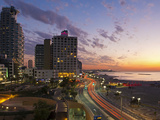 Israel  Tel Aviv  Elevated Dusk View of the City Beachfront