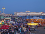 United Kingdom  England  Carousels on Brighton Beachfront at Twilight