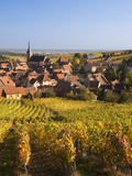 France  Bas-Rhin  Alsace Region  Alasatian Wine Route  Blienschwiller  Town Overview from Vineyards