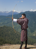 Archery  Datse  Favourite National Sport of the Bhutanese  Archer Practices His Skills on High Chel