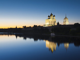 Russia  Pskovskaya Oblast  Pskov of Pskov Kremlin and Trinity Cathedral from the Velikaya River