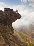 Yemen  Sana'A Province  Bokhur Plateau  a Car Perched on a Cliff Top