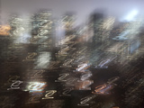 Blurred Night Skyline of Manhattan  New York City  USA