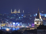 Galata Tower and Blue Mosque (Sultan Ahmet Camii)  Sultanahmet  Istanbul  Turkey