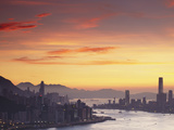 Hong Kong Island and Tsim Sha Tsui Skylines at Sunset  Hong Kong  China
