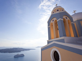 Church and Cruise Ship  Fira  Santorini (Thira)  Cyclades  Greece