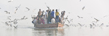 Pilgrims on the Ganges River  Varanasi  India