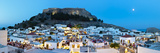 Lindos Acropolis and Rooftop Restaurants Illuminated at Dusk  Lindos  Rhodes  Greece