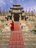 India  Rajasthan  Ranakpur  a Priest at the Famous Chaumukha Mandir  an Elaborately Sculpted Jain T