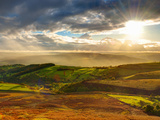 UK  England  Derbyshire  Peak District National Park  Hope Valley from Stanage Edge