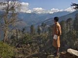 A Bhutanese Man in National Costume Views an Eastern Himalayan Mountain Range from the 11 000-Foot-