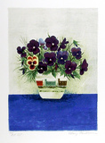 Purple Pansies in Cup