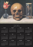 Vanitas Still Life with a Tulip  Skull and Hour-Glass