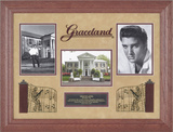 "Elvis Presley ""Graceland"" framed presentation with frame made from tree that fell on Graceland grou"