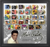 "Elvis Presley ""The Number One Hits"" framed presentation with gold foil mini record replicas"