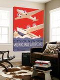 New York Municipal Airports Toile Murale Géante