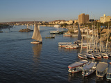Aswan and the River Nile at Sunset  from the Ferial Gardens  Egypt