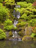 Heavenly Falls in Summer in the Japanese Garden  Portland  Oregon  USA