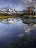 Grand Tetons from Schwabacher Landing on the Snake River at Sunrise  Grand Teton National Park
