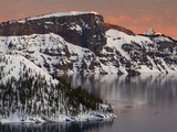 Sunset View of Wizard Island and Lao Rock at Crater Lake National Park in Winter  Oregon  USA
