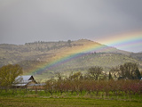 A Spring Thunderstorm and Rainbow Pass over Farm Land in the Rogue Valley of Southern Oregon  USA
