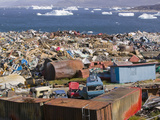 Trash Dumped on the Tundra Outside Illulissat in Greenland with Icebergs