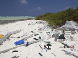 Trash Washed onto a Bikini Atoll Beach  Marshall Islands  Pacific Ocean