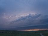 Intracloud Lightning at Sunset from a Thunderstorm in Central Nebraska  USA