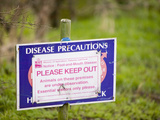A Foot-And-Mouth Disease Warning Sign on a Farm