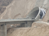 Building a New Railway Line Bridge and Tunnel in Shanxi Province in Northern China