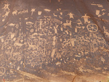 Indian Petroglyphs in Canyonlands National Park on Newspaper Rock  Utah  USA