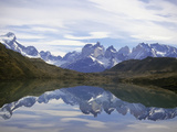 Reflections of the Cuernos Del Paine in a Lake  Torres Del Paine National Park  Patagonia  Chile