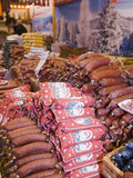 German Sausages in a Christmas Decorated Market  Manchester  UK