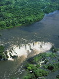 Aerial View of Santo Antonio Waterfall in the Rainforest on the Jari River