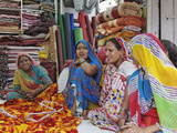 Indian Women in Cloth Shop  Udaipur  India