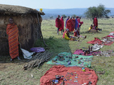 Masai Women Offering Souvenirs for Sale to Tourists  Serengeti National Park  Tanzania  Africa
