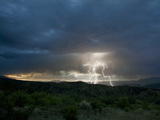 Lightning Bolts Strike the Ground in the Upper Arkansas Valley of Colorado  USA