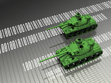 Illustration of Virtual Tanks Sitting on Circuit Board Surface