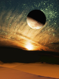 The Moon over a Sandy Landscape with a Sunset Background and Stars in the Sky