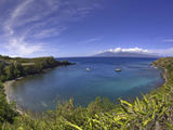 Sailboats and Snorkelers in Honolua Bay  Maui
